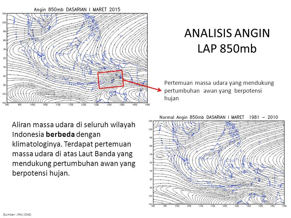 ANALISIS ANGIN LAP 850mb Aliran massa udara di seluruh wilayah Indonesia berbeda dengan klimatologinya.