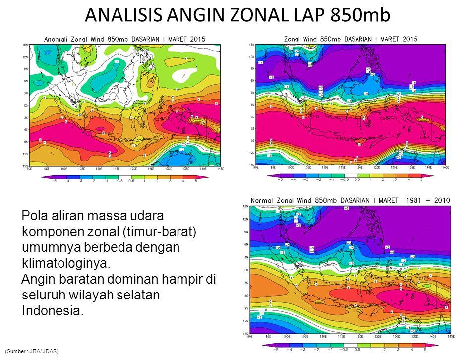 ANALISIS ANGIN ZONAL LAP 850mb Pola aliran massa udara komponen zonal (timur-barat) umumnya berbeda dengan klimatologinya.