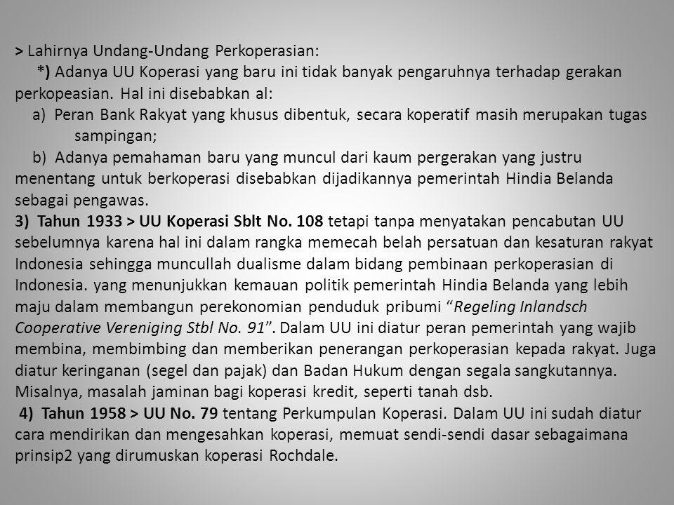 > Lahirnya Undang-Undang Perkoperasian: 5) 02 Agustus 1965 > UU No.