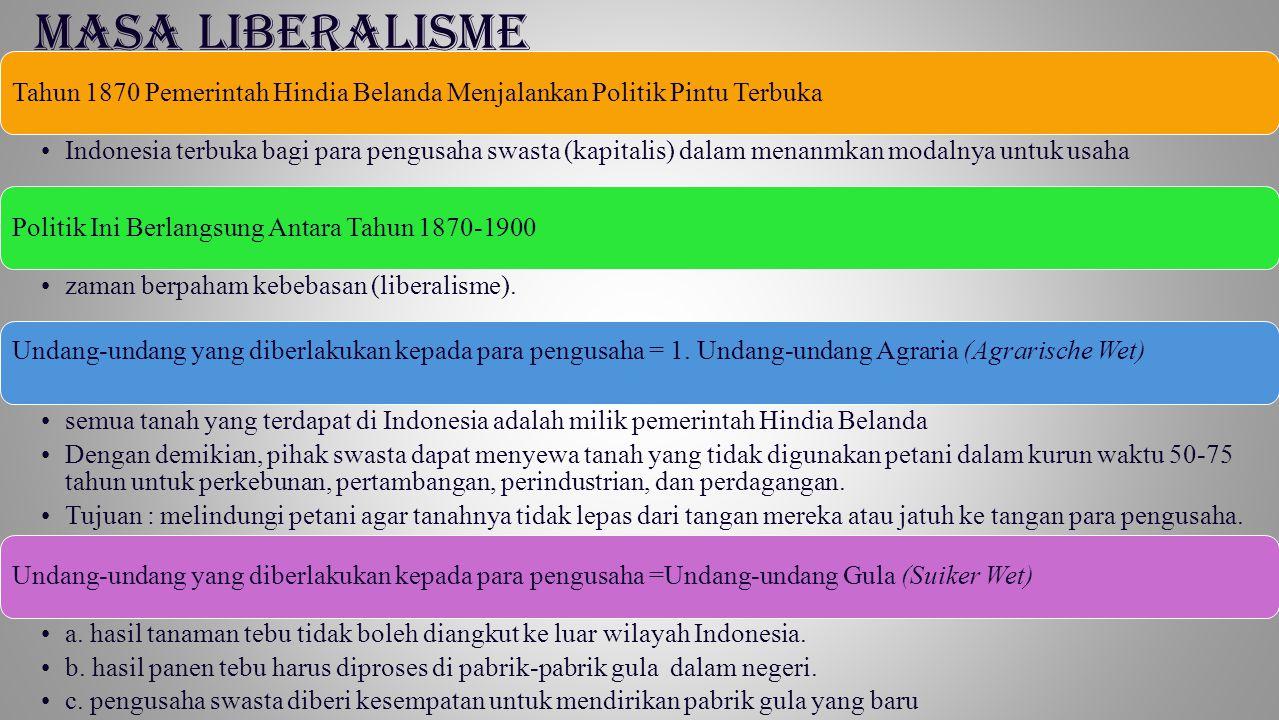 MASA LIBERALISME Tahun 1870 Pemerintah Hindia Belanda Menjalankan Politik Pintu Terbuka Indonesia terbuka bagi para pengusaha swasta (kapitalis) dalam
