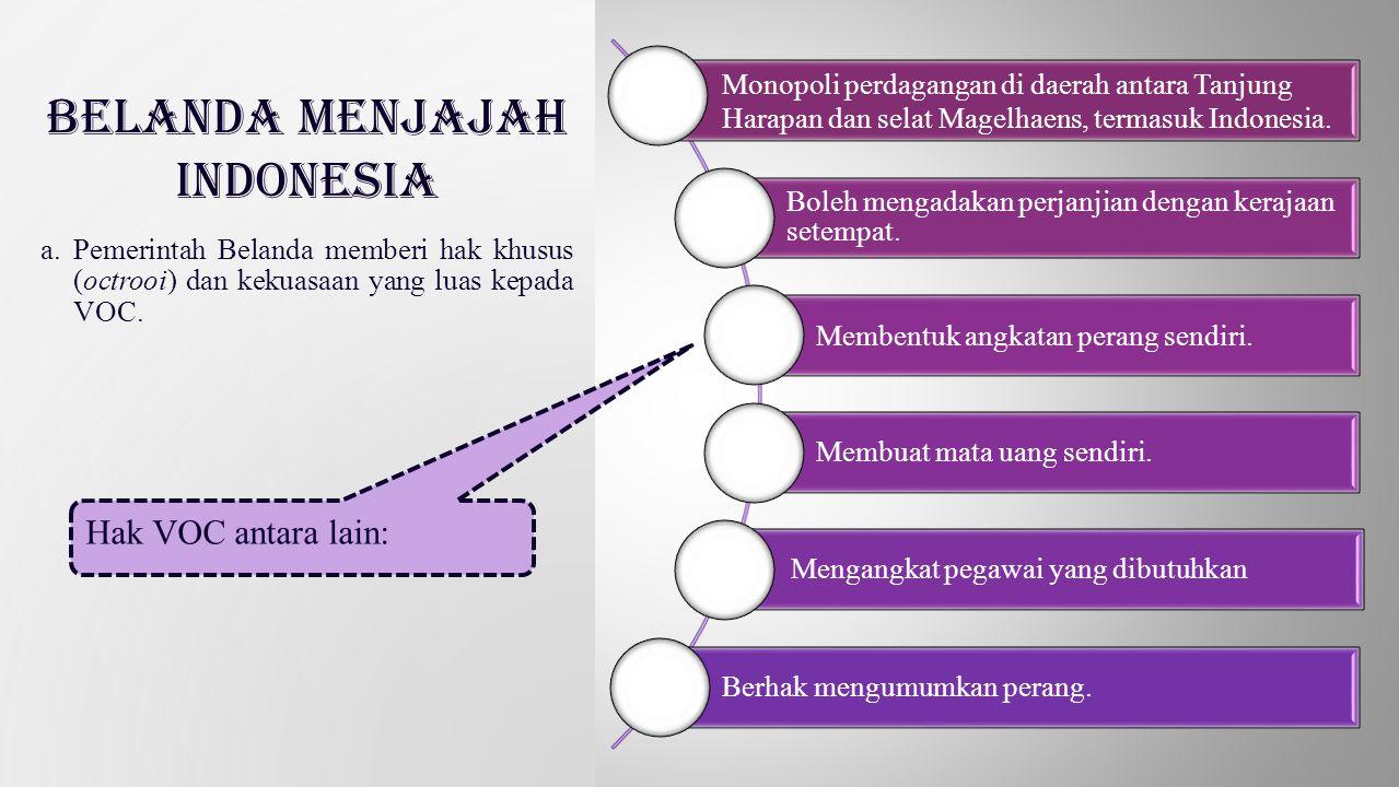 Monopoli perdagangan di daerah antara Tanjung Harapan dan selat Magelhaens, termasuk Indonesia. Boleh mengadakan perjanjian dengan kerajaan setempat.