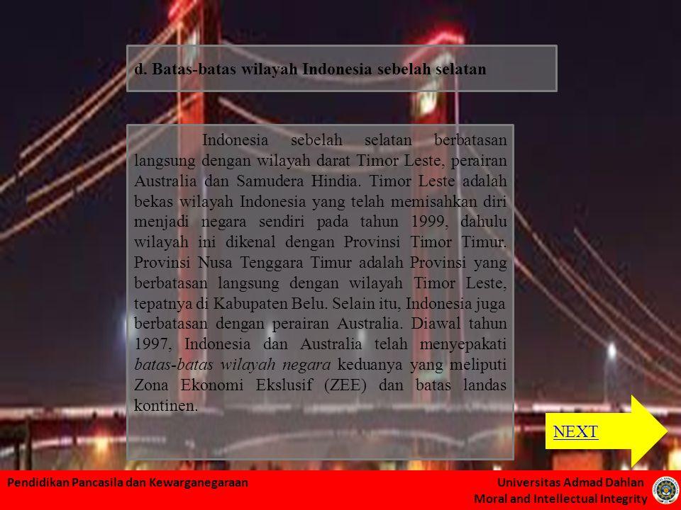 Pendidikan Pancasila dan Kewarganegaraan Universitas Admad Dahlan Moral and Intellectual Integrity Indonesia sebelah selatan berbatasan langsung denga