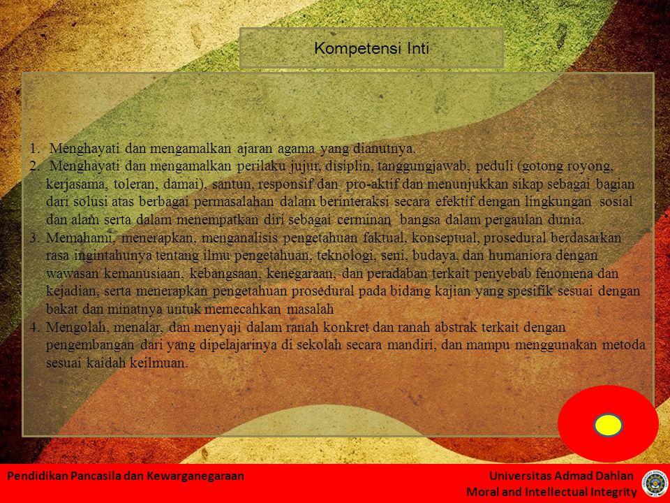 Pendidikan Pancasila dan Kewarganegaraan Universitas Admad Dahlan Moral and Intellectual Integrity Kompetensi Inti 1. Menghayati dan mengamalkan ajara