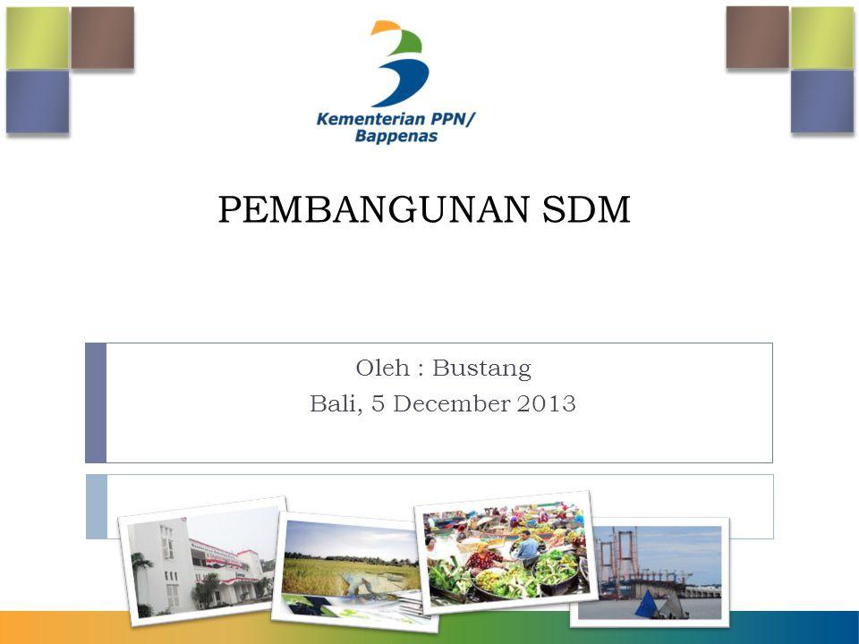 PEMBANGUNAN SDM Oleh : Bustang Bali, 5 December 2013