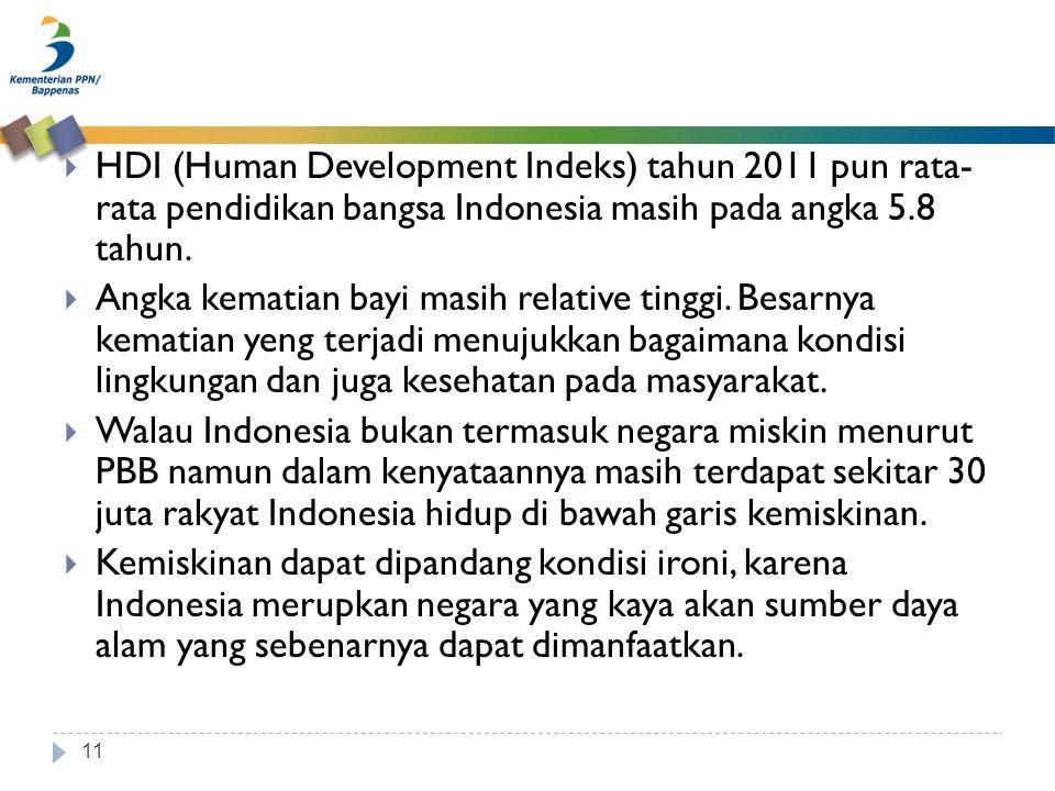 11  HDI (Human Development Indeks) tahun 2011 pun rata- rata pendidikan bangsa Indonesia masih pada angka 5.8 tahun.  Angka kematian bayi masih rela