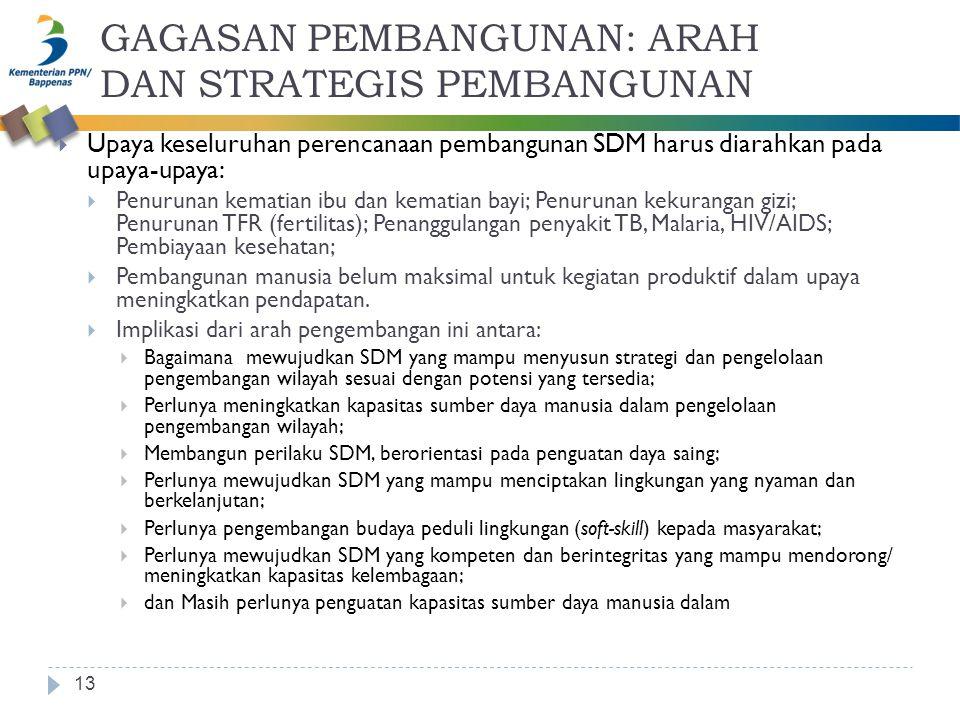 GAGASAN PEMBANGUNAN: ARAH DAN STRATEGIS PEMBANGUNAN 13  Upaya keseluruhan perencanaan pembangunan SDM harus diarahkan pada upaya-upaya:  Penurunan k