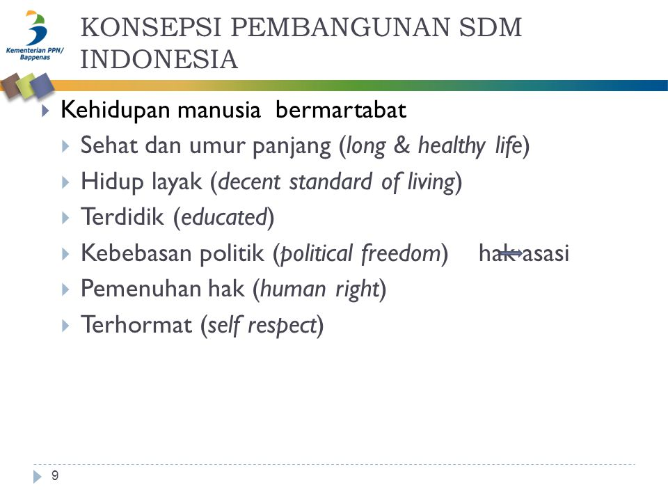 KONSEPSI PEMBANGUNAN SDM INDONESIA 9  Kehidupan manusia bermartabat  Sehat dan umur panjang (long & healthy life)  Hidup layak (decent standard of living)  Terdidik (educated)  Kebebasan politik (political freedom) hak asasi  Pemenuhan hak (human right)  Terhormat (self respect)