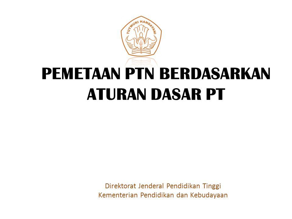 PEMETAAN PTN BERDASARKAN ATURAN DASAR PT Direktorat Jenderal Pendidikan Tinggi Kementerian Pendidikan dan Kebudayaan