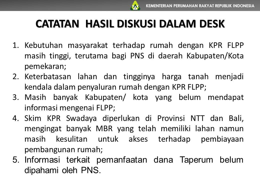 KEMENTERIAN PERUMAHAN RAKYAT REPUBLIK INDONESIA CATATAN HASIL DISKUSI DALAM DESK 1.Kebutuhan masyarakat terhadap rumah dengan KPR FLPP masih tinggi, t
