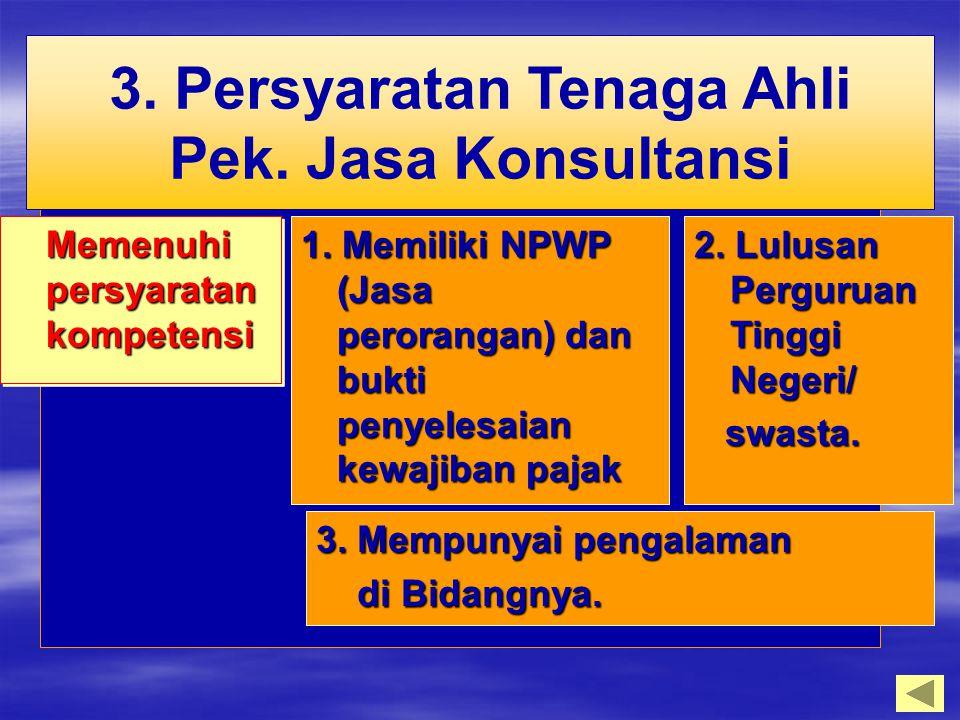 Memenuhi persyaratan kompetensi 1. Memiliki NPWP (Jasa perorangan) dan bukti penyelesaian kewajiban pajak 2. Lulusan Perguruan Tinggi Negeri/ swasta.