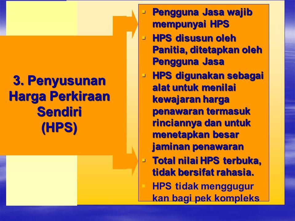  Pengguna Jasa wajib mempunyai HPS  HPS disusun oleh Panitia, ditetapkan oleh Pengguna Jasa  HPS digunakan sebagai alat untuk menilai kewajaran har