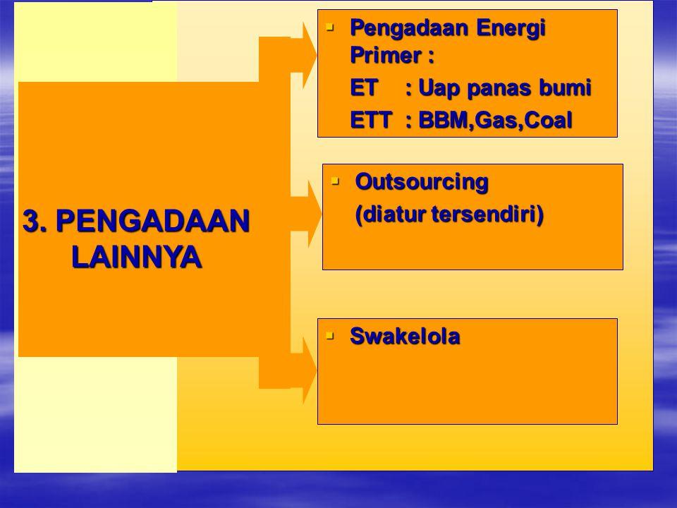  Pengadaan Energi Primer : ET : Uap panas bumi ETT : BBM,Gas,Coal 3. PENGADAAN LAINNYA  Outsourcing (diatur tersendiri)  Swakelola