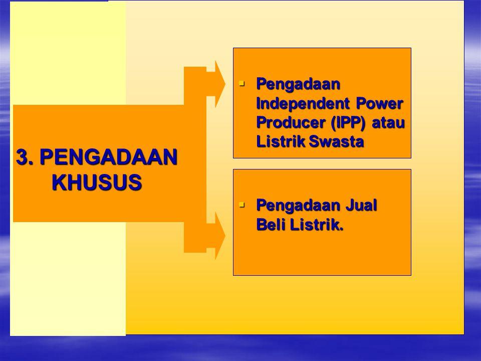  Pengadaan Independent Power Producer (IPP) atau Listrik Swasta 3. PENGADAAN KHUSUS  Pengadaan Jual Beli Listrik.