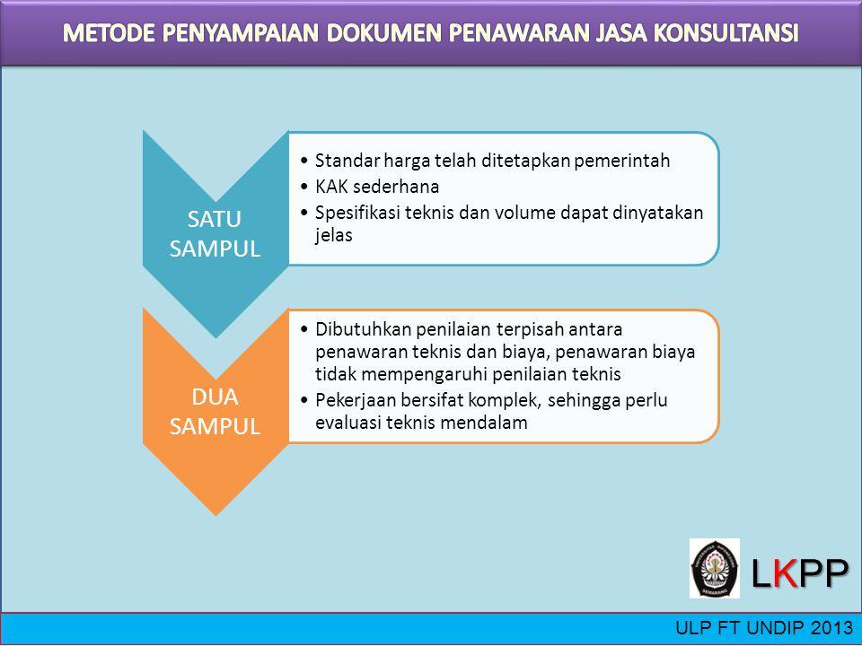 ULP FT UNDIP 2013 SATU SAMPUL Standar harga telah ditetapkan pemerintah KAK sederhana Spesifikasi teknis dan volume dapat dinyatakan jelas DUA SAMPUL