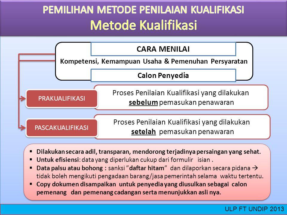 Kompetensi, Kemampuan Usaha & Pemenuhan Persyaratan Calon Penyedia CARA MENILAI Proses Penilaian Kualifikasi yang dilakukan setelah pemasukan penawara