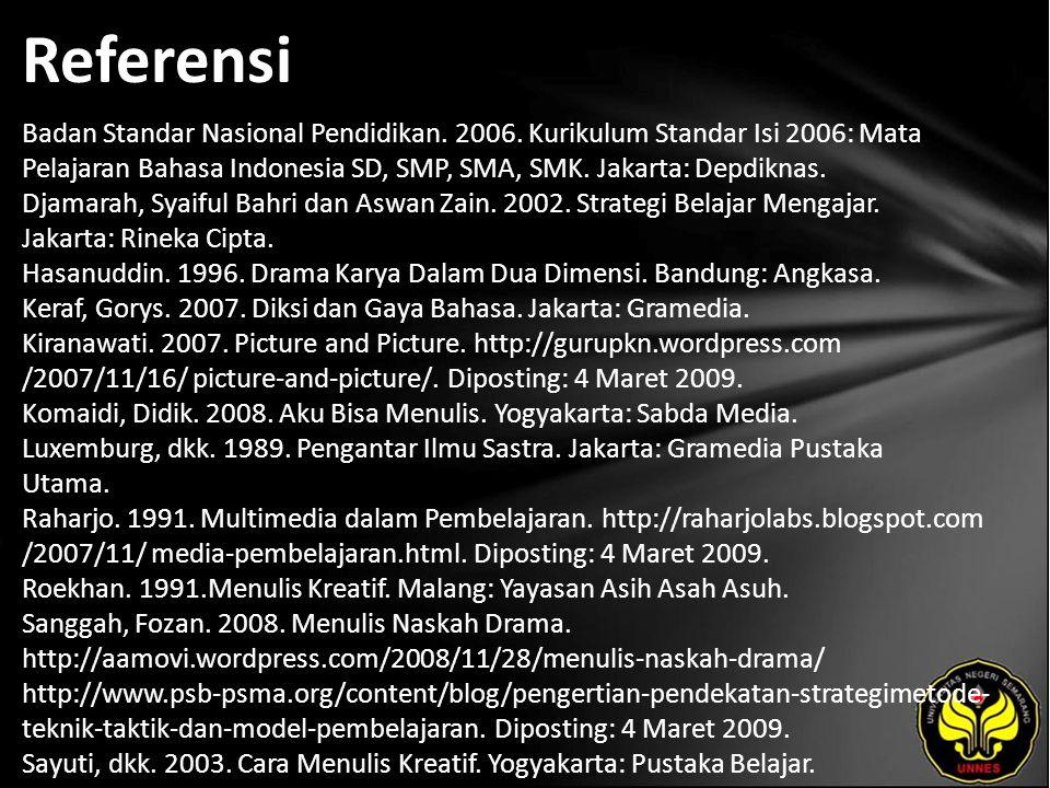Referensi Badan Standar Nasional Pendidikan. 2006. Kurikulum Standar Isi 2006: Mata Pelajaran Bahasa Indonesia SD, SMP, SMA, SMK. Jakarta: Depdiknas.