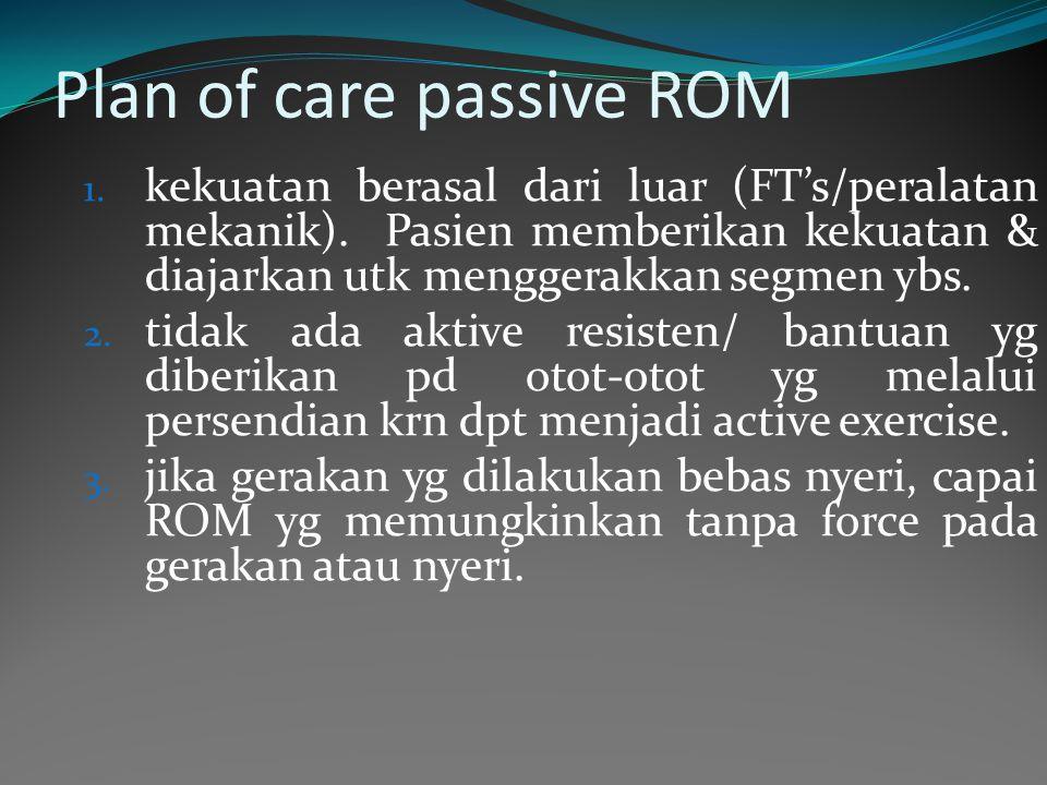 Plan of care passive ROM 1.kekuatan berasal dari luar (FT's/peralatan mekanik).