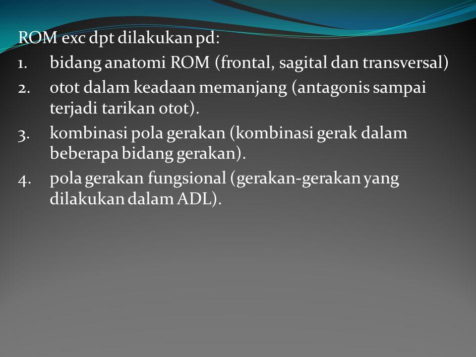 ROM exc dpt dilakukan pd: 1.bidang anatomi ROM (frontal, sagital dan transversal) 2.otot dalam keadaan memanjang (antagonis sampai terjadi tarikan otot).