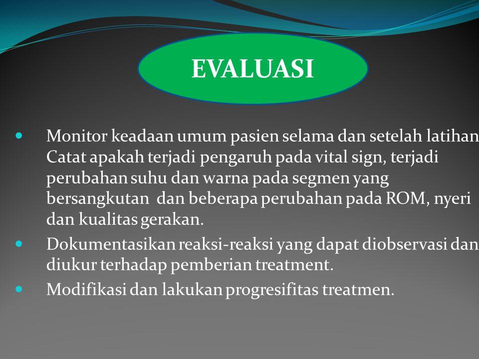Monitor keadaan umum pasien selama dan setelah latihan.