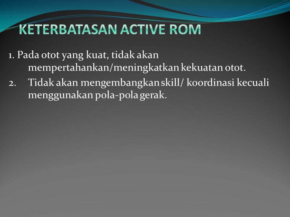 1.Pada otot yang kuat, tidak akan mempertahankan/meningkatkan kekuatan otot.