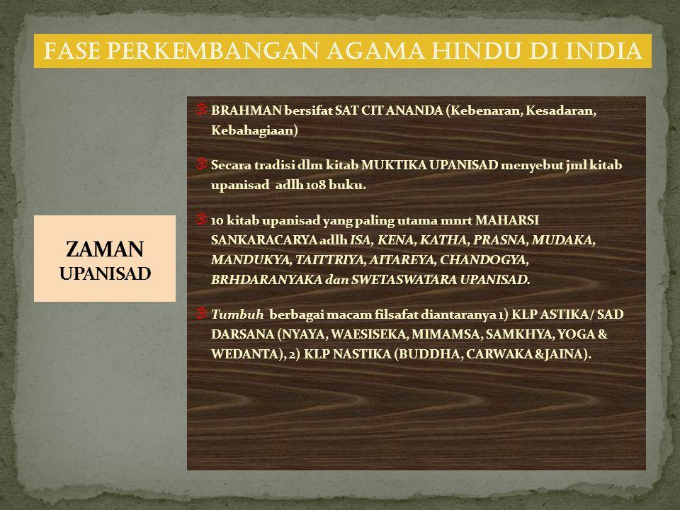  BRAHMAN bersifat SAT CIT ANANDA (Kebenaran, Kesadaran, Kebahagiaan)  Secara tradisi dlm kitab MUKTIKA UPANISAD menyebut jml kitab upanisad adlh 108 buku.