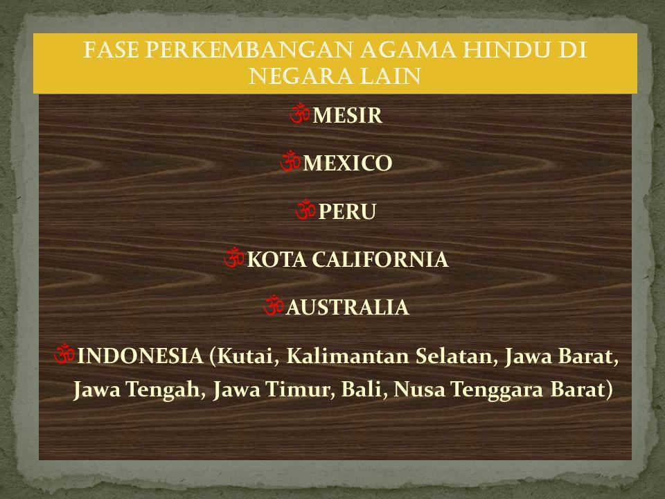  MESIR  MEXICO  PERU  KOTA CALIFORNIA  AUSTRALIA  INDONESIA (Kutai, Kalimantan Selatan, Jawa Barat, Jawa Tengah, Jawa Timur, Bali, Nusa Tenggara Barat) FASE PERKEMBANGAN AGAMA HINDU DI NEGARA LAIN
