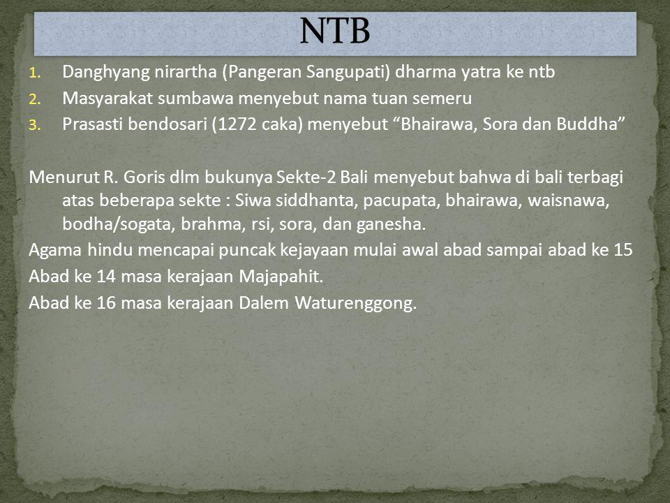 1.Danghyang nirartha (Pangeran Sangupati) dharma yatra ke ntb 2.