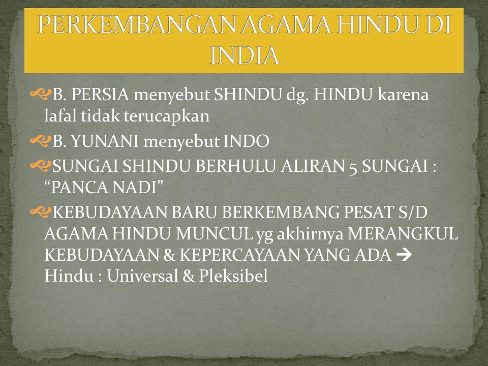  B.PERSIA menyebut SHINDU dg. HINDU karena lafal tidak terucapkan  B.
