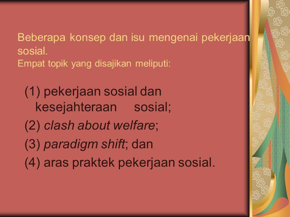 Beberapa konsep dan isu mengenai pekerjaan sosial. Empat topik yang disajikan meliputi: (1) pekerjaan sosial dan kesejahteraan sosial; (2) clash about
