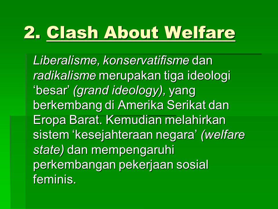 2. Clash About Welfare Liberalisme, konservatifisme dan radikalisme merupakan tiga ideologi 'besar' (grand ideology), yang berkembang di Amerika Serik