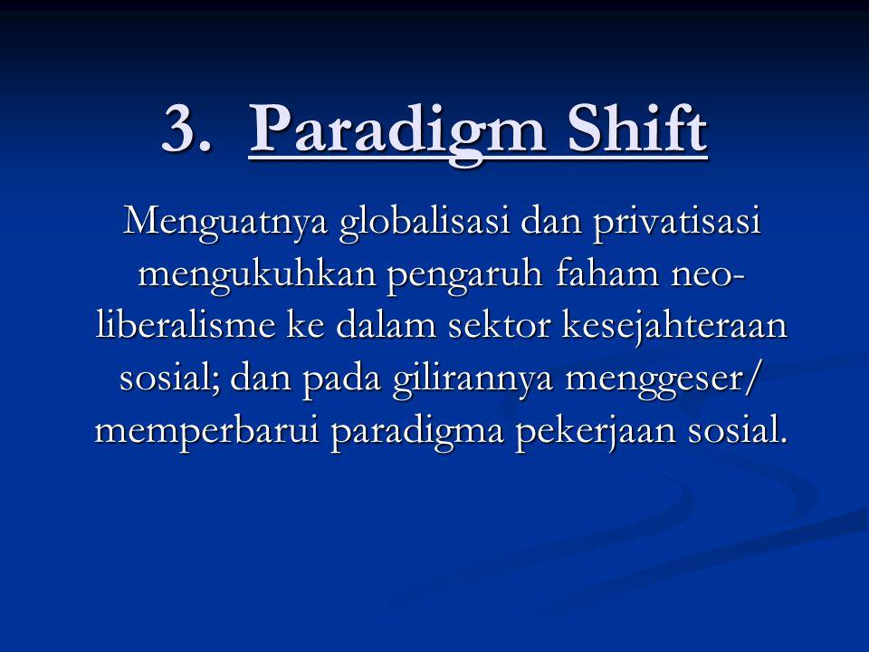 3.Paradigm Shift Menguatnya globalisasi dan privatisasi mengukuhkan pengaruh faham neo- liberalisme ke dalam sektor kesejahteraan sosial; dan pada gilirannya menggeser/ memperbarui paradigma pekerjaan sosial.