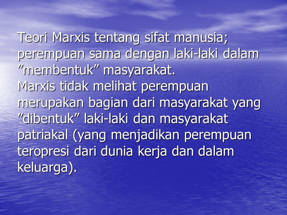 Teori Marxis tentang sifat manusia; perempuan sama dengan laki-laki dalam membentuk masyarakat.