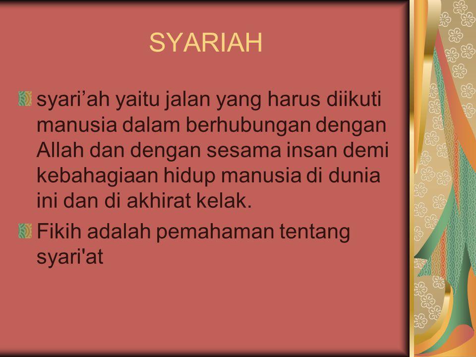 SYARIAH syari'ah yaitu jalan yang harus diikuti manusia dalam berhubungan dengan Allah dan dengan sesama insan demi kebahagiaan hidup manusia di dunia