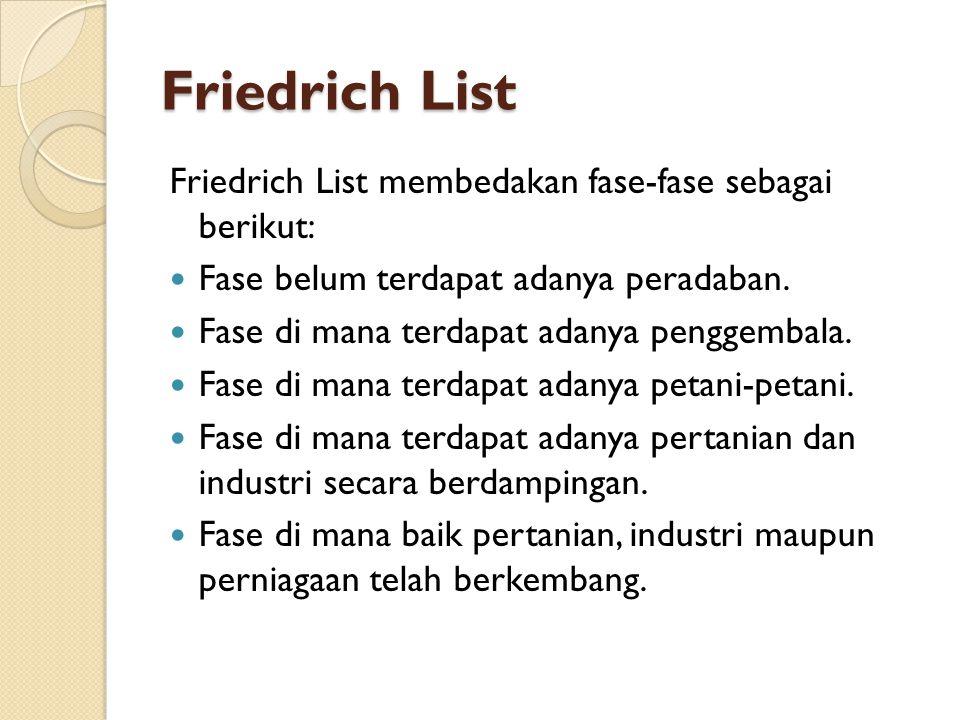 Friedrich List Friedrich List membedakan fase-fase sebagai berikut: Fase belum terdapat adanya peradaban. Fase di mana terdapat adanya penggembala. Fa