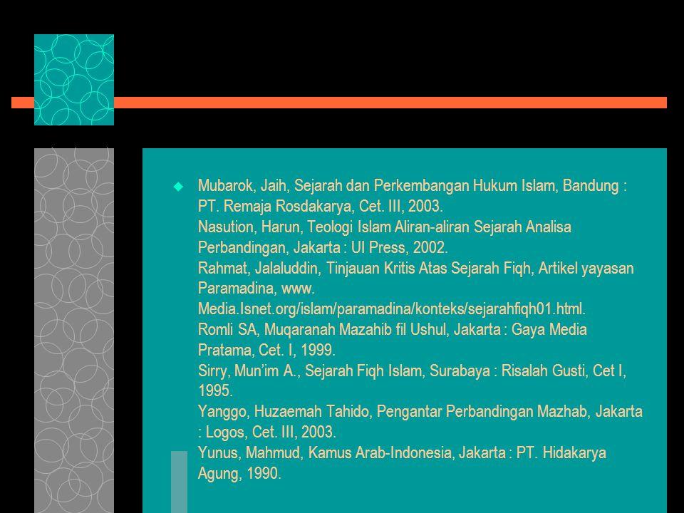  Mubarok, Jaih, Sejarah dan Perkembangan Hukum Islam, Bandung : PT.