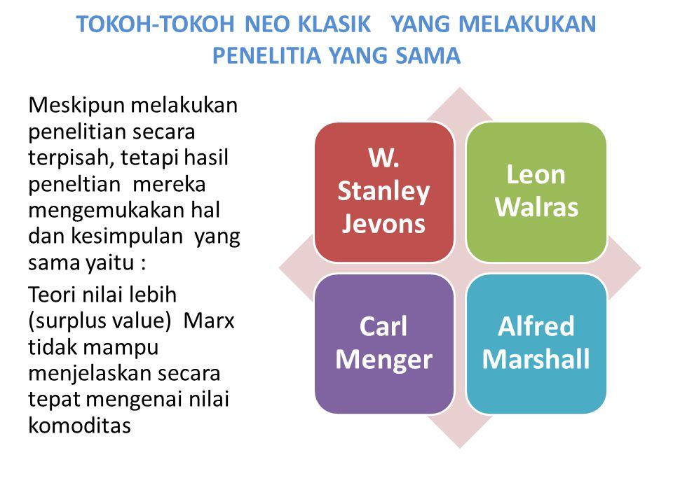 TOKOH-TOKOH NEO KLASIK YANG MELAKUKAN PENELITIA YANG SAMA W. Stanley Jevons Leon Walras Carl Menger Alfred Marshall Meskipun melakukan penelitian seca