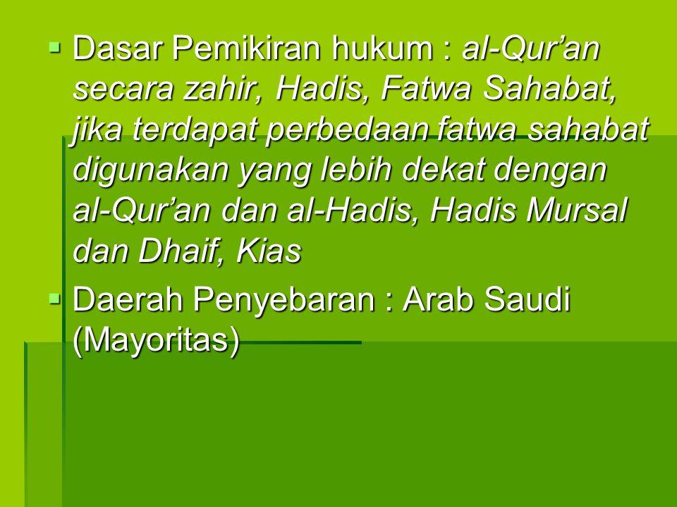  Dasar Pemikiran hukum : al-Qur'an secara zahir, Hadis, Fatwa Sahabat, jika terdapat perbedaan fatwa sahabat digunakan yang lebih dekat dengan al-Qur