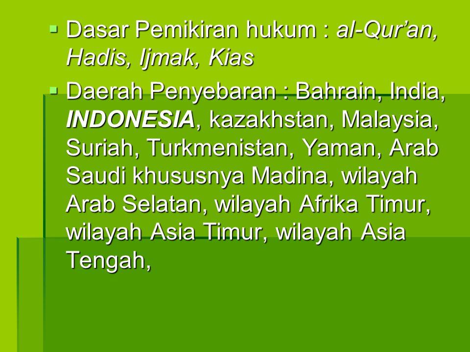  Dasar Pemikiran hukum : al-Qur'an, Hadis, Ijmak, Kias  Daerah Penyebaran : Bahrain, India, INDONESIA, kazakhstan, Malaysia, Suriah, Turkmenistan, Y