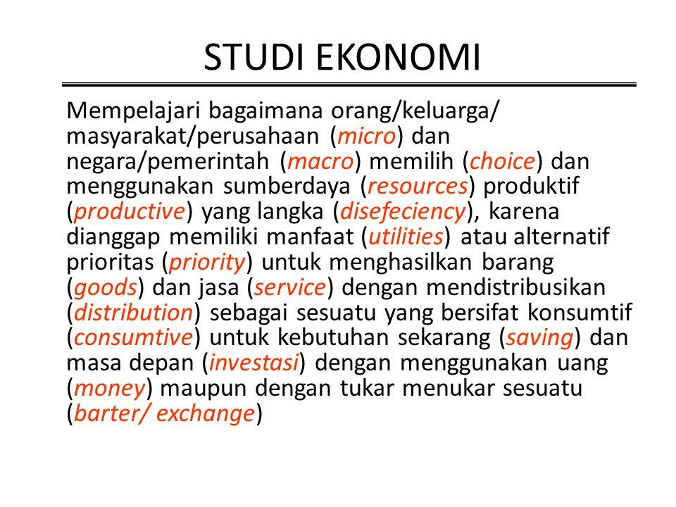 STUDI EKONOMI Mempelajari bagaimana orang/keluarga/ masyarakat/perusahaan (micro) dan negara/pemerintah (macro) memilih (choice) dan menggunakan sumbe