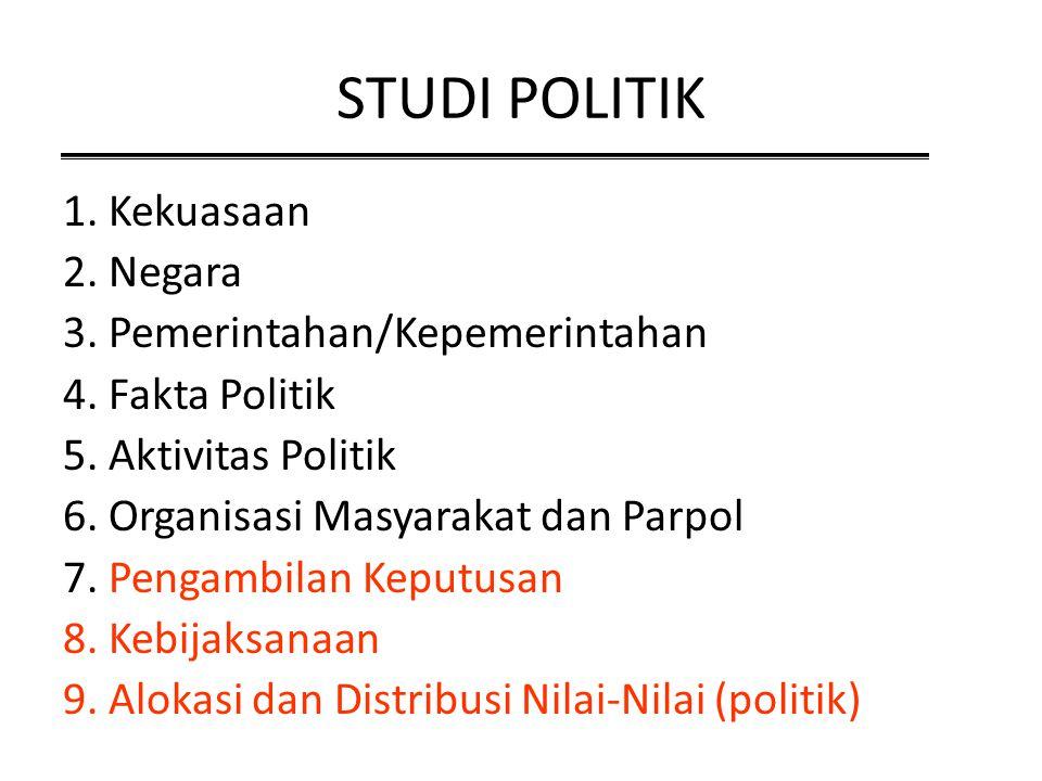 STUDI POLITIK 1. Kekuasaan 2. Negara 3. Pemerintahan/Kepemerintahan 4. Fakta Politik 5. Aktivitas Politik 6. Organisasi Masyarakat dan Parpol 7. Penga