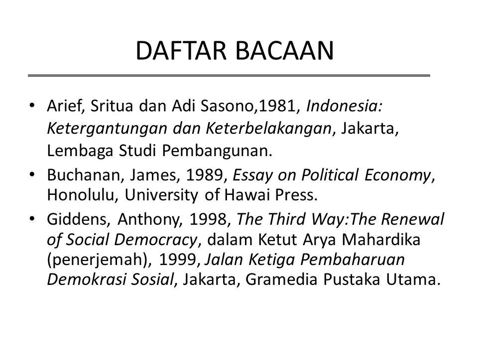 DAFTAR BACAAN Arief, Sritua dan Adi Sasono,1981, Indonesia: Ketergantungan dan Keterbelakangan, Jakarta, Lembaga Studi Pembangunan. Buchanan, James, 1
