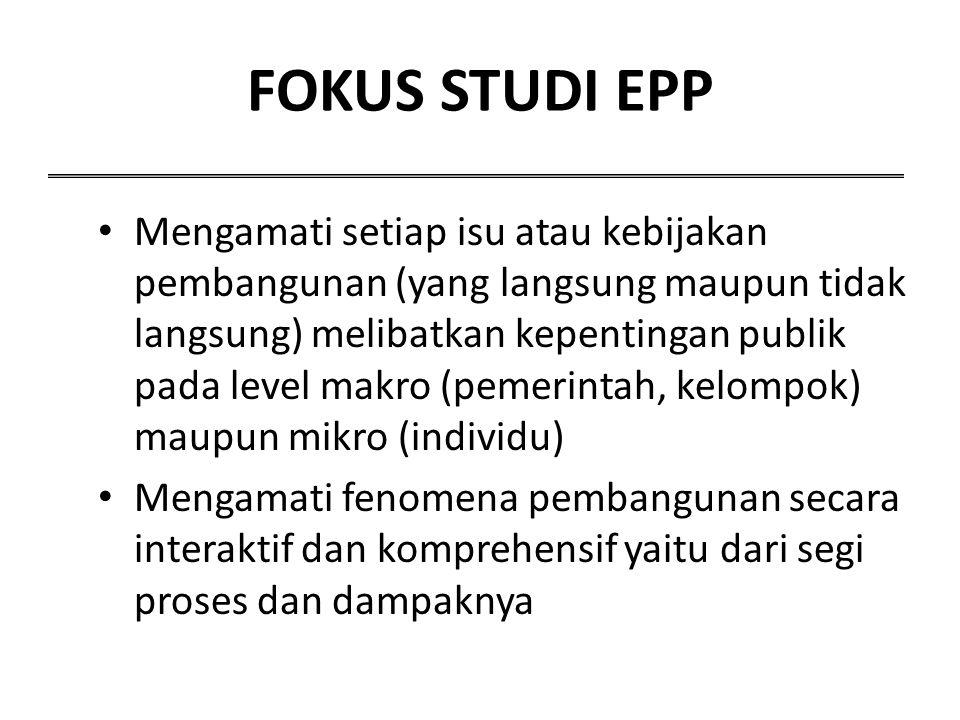 FOKUS STUDI EPP Mengamati setiap isu atau kebijakan pembangunan (yang langsung maupun tidak langsung) melibatkan kepentingan publik pada level makro (