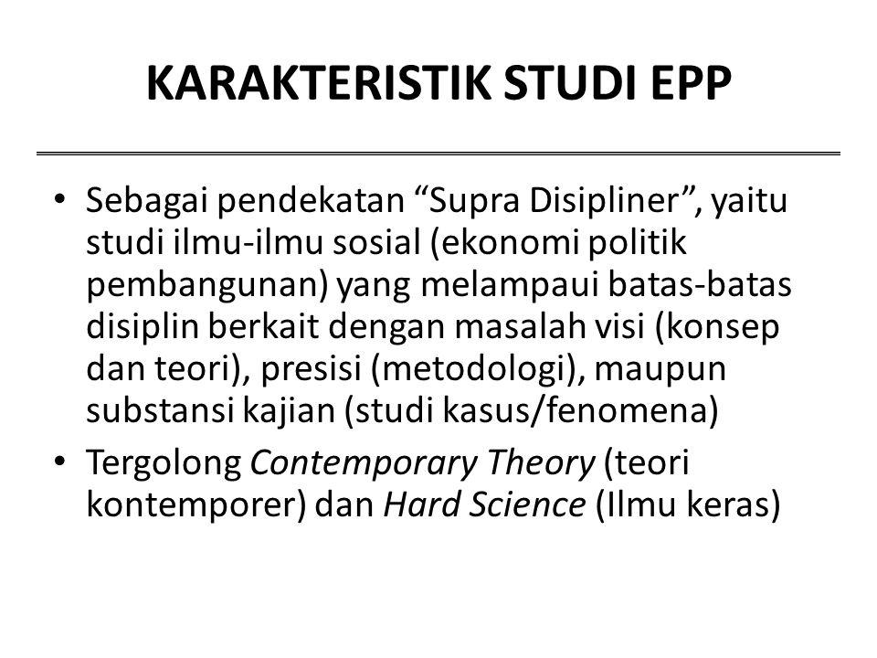 """KARAKTERISTIK STUDI EPP Sebagai pendekatan """"Supra Disipliner"""", yaitu studi ilmu-ilmu sosial (ekonomi politik pembangunan) yang melampaui batas-batas d"""