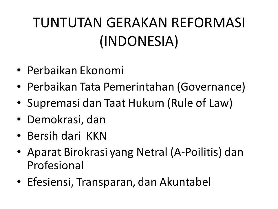 TUNTUTAN GERAKAN REFORMASI (INDONESIA) Perbaikan Ekonomi Perbaikan Tata Pemerintahan (Governance) Supremasi dan Taat Hukum (Rule of Law) Demokrasi, da