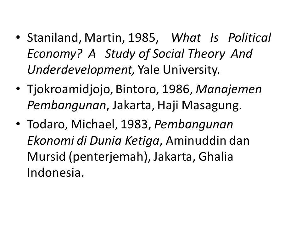 Wahab, Solichin, Abdul, 1999, Ekonomi Politik Pembangunan: Bisnis Indonesia Era Orde Baru dan Di Tengah Krisis Moneter, Malang, Danar Wijaya.