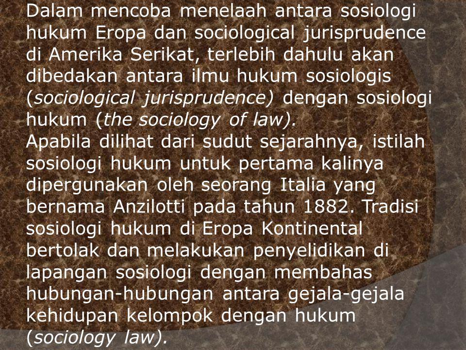 Dalam mencoba menelaah antara sosiologi hukum Eropa dan sociological jurisprudence di Amerika Serikat, terlebih dahulu akan dibedakan antara ilmu huku