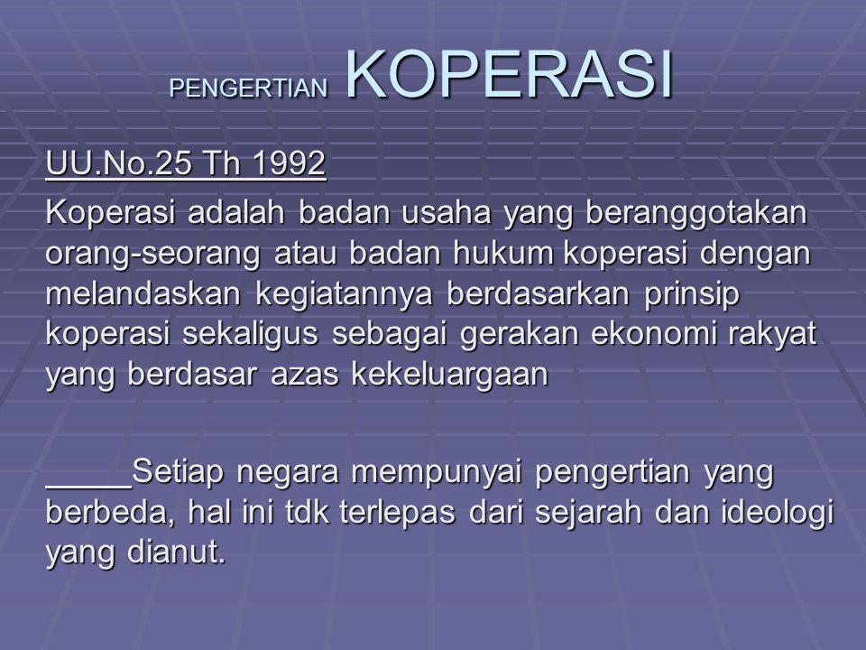 PENGERTIAN KOPERASI UU.No.25 Th 1992 Koperasi adalah badan usaha yang beranggotakan orang-seorang atau badan hukum koperasi dengan melandaskan kegiata