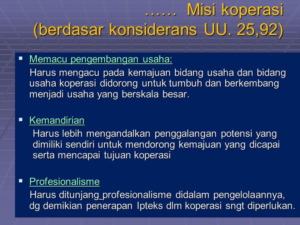 …… Misi koperasi (berdasar konsiderans UU. 25,92)  Memacu pengembangan usaha: Harus mengacu pada kemajuan bidang usaha dan bidang usaha koperasi dido