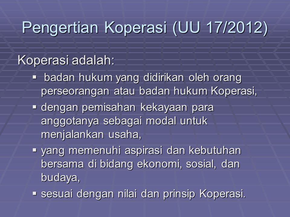 Pengertian Koperasi (UU 17/2012) Koperasi adalah:  badan hukum yang didirikan oleh orang perseorangan atau badan hukum Koperasi,  dengan pemisahan k