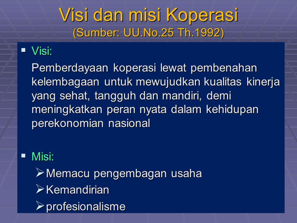 Visi dan misi Koperasi (Sumber: UU.No.25 Th.1992)  Visi: Pemberdayaan koperasi lewat pembenahan kelembagaan untuk mewujudkan kualitas kinerja yang se